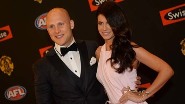 The favourite: Gary Ablett and Jordan Papalia arrive at the count.