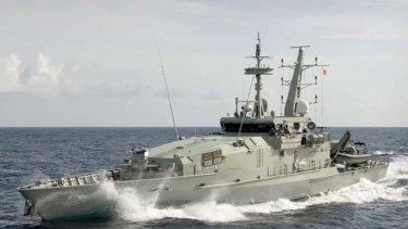 HMAS Wollongong on patrol in the Arafura sea.