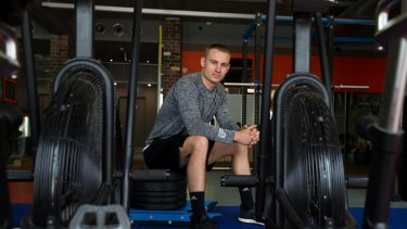 Luke Champion in his Potts Point gym, has used the After Pay app, to buy sport equipment.