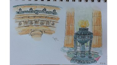 Tamara De Luchi's rendering of the Shrine of Remembrance.