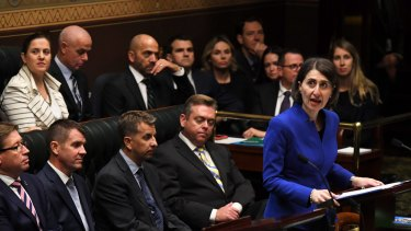 NSW Treasurer Gladys Berejiklian delivering her budget speech at State Parliament on Tuesday June 21, 2016