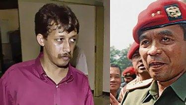 Murdered activist Munir Thalib (left), and Muchdi Purwopranjono.