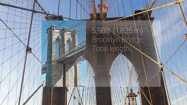 The Brooklyn Bridge, New York, as seen by Google Glass.