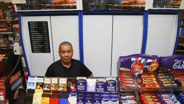 Caulfield North Milk Bar owner Steven Shi's cigarettes are well hidden.