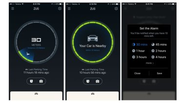 The Zus app helps you find your way back to the car, as well as set a timer so you don't overstay your welcome.