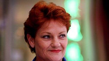 Pauline Hanson speaks to the media in 2007.