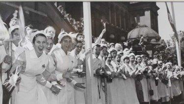 Humble beginnings ... Elinor Wrobel, far left, with other nurses when she began work at Sydney Hospital.
