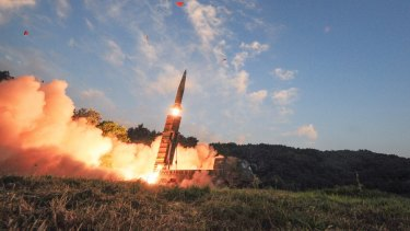 South Korea's Hyunmoo II ballistic missile is fired during an exercise at an undisclosed location in South Korea on Monday.