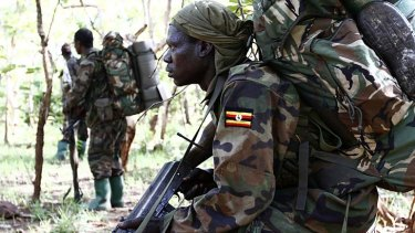 Ugandan soldiers hunt Joseph Kony in a forest bordering the Central African Republic.