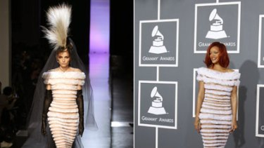 Andrej Pejic in a gown by Jean Paul Gaultier at the Haute Couture Spring-Summer 2011 show in Paris, left, and singer Rihanna showing off the same dress at the Grammy Awards earlier this month.
