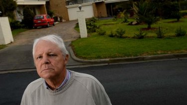 Clive Humphris outside the Donvale home he had to quit.
