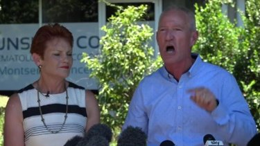 Steve Dickson announces his defection to One Nation with Pauline Hanson.