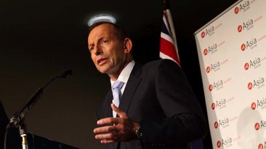 """Prime Minister Tony Abbott, pictured at the Asia Society function in Canberra on Tuesday, has promised the """"Asian Century will be Australia's moment too""""."""