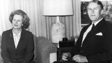 Margaret Thatcher and Malcolm Fraser meet in Canberra in 1979.