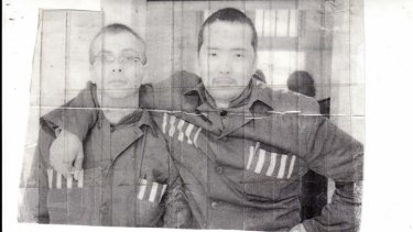 """I was scared out of my mind"" … Troy Bremer (at left) with a fellow inmate, Mongolian Batar Batuka, at Beijing's Municipal prison No 2."