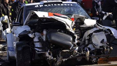 Crash ... the wrecked car of Formula One driver Robert Kubica