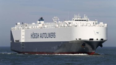 This image from Hoegh Autoliners shows the Norwegian company's vessel H?egh St Petersburg, which was asked by Australian authorities to assist in the search of the debris of the missing Boing 777 of Malaysia Airlines Flight MH370. The vessel has arrived at the site where debris up to 24m long was spotted in the Indian Ocean some 2500 kilometres southwest of Perth.