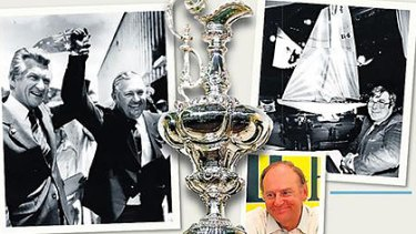 Bob Hawke and the victorious Alan Bond, above, the coveted cup, Ben Lexcen with a scale model, top right, and Peter van Oossanen, right.