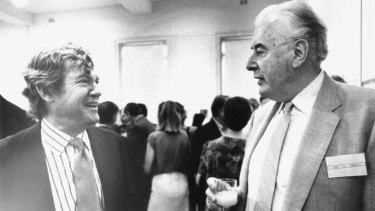 Robert Hughes with former PM Gough Whitlam at the launch of <i>The Fatal Shore</i> in 1987.