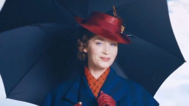 Emily Blunt as Mary Poppins in the comedy musical <i>Mary Poppins Returns</I>.