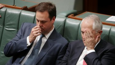 Trade Minister Steve Ciobo and Prime Minister Malcolm Turnbull after the defeat.