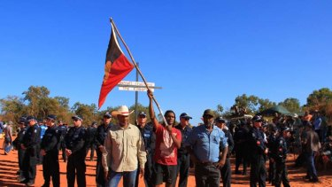Aboriginal Traditional Owners at James Price Point in the Kimberley while protesting the proposed development of a gas hub on their land.