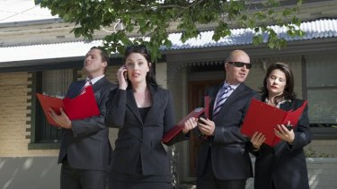 Cast (from left) Lyall Brooks, Sharon Davis, Michael Dalley and Gabrielle Quin satirise the property market.