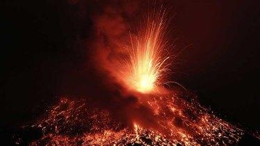 Volcanic display ... Tungurahua shoots lava into the night sky.