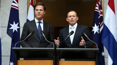 Netherlands Prime Minister Mark Rutte and Prime Minister Tony Abbott  on Thursday.