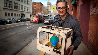 """We expected our orders to double from our previous machine"" ... Bre Pettis, CEO of Makerbot Industries, with ""The Replicator"" 3D printer."