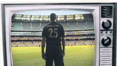 Over it? . . . Australia's Mitchell Johnson stands in front of an almost empty MCG.