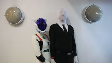 Simon Triamtafillou dressed as Slender Man and Rachel Fletch as Rei Ayanami from an animation during 2015 Supanova at Sydney Showgrounds on June 20.