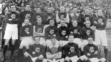 The Carlton Football Club team of 1913. This is the Carlton side that lost to Collingwood by a goal on May 17 1913.