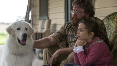 Shane Jacobson and Coco Jack Gillies with sheepdog Oddball.