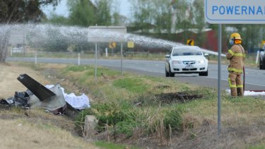 Shepparton emergency workers hose down the area.
