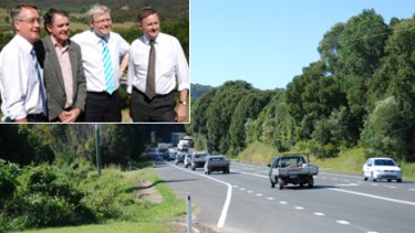 Inspecting the site of the planned Bruce Highway upgrade were (from left) Federal Treasurer Wayne Swan, paramedic Wayne Sachs, Prime Minister Kevin Rudd and Infrastructure Minister Anthony Albanese.