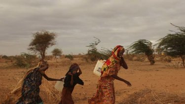 Apshira Yusuf with her daughter Sahara Mohammed, on the outskirts of Dadaab refugee camp this week.