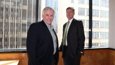DirectMoney CEO David Doust (left) with executive chairman Stephen Porges. The company raised $11.2 million at 20¢ a share to fund loans and for working capital.