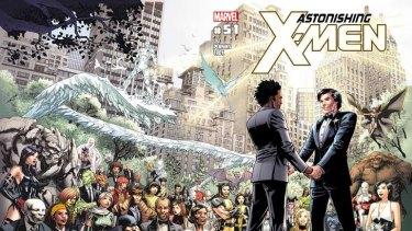 "Artwork from the cover of Marvel Comics ""Astonishing X-Men #51"" in which Jean-Paul Beaubier, will marry longtime boyfriend Kyle Jinadu."