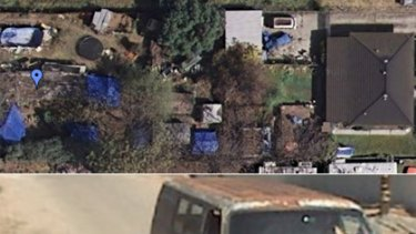 Images taken from Google Maps showing Phillip Garrido's backyard prison and, bottom, his rusty old van.