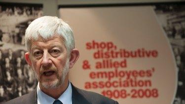 SDA National Secretary Joe de Bruyn speaks at a press conference.