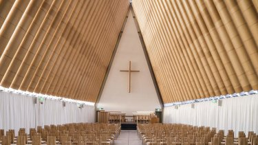 Shigeru Ban's Cardboard Cathedral in Christchurch, New Zealand.