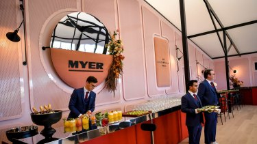 Myer has chosen a French atelier theme in its textured and colourful marquee.