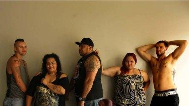 Inked … Robert Bullivant, Belinda Griffin, Stephen Ridgeway, Tracy Bullivant, Nikita Ridgeway and Aaron Collins show off their tattoos.