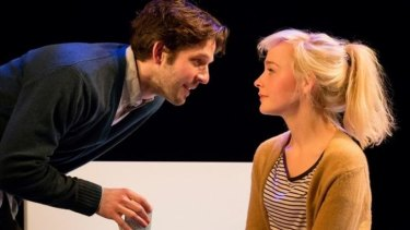Damien Molony (Spike) and Olivia Vinall (Hilary) in the National Theatre Live production of Tom Stoppard's play The Hard Problem.
