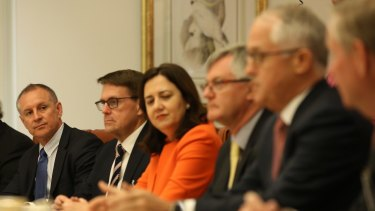 Scene set for a tense meeting. Prime Minister Malcolm Turnbull speaks with premiers at Friday's COAG meeting. The premiers are angry with the federal government over its flip flopping on climate policy.