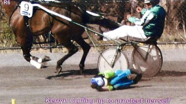 The world's top female racing harness driver Kerryn Manning in emergency position during a recent fall.