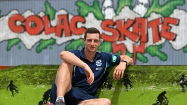 Happy camper: Darcy Lang in his home-town of Colac.
