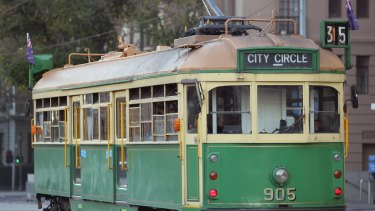 One of the iconic W-Class trams on Melbourne's City Circle route.
