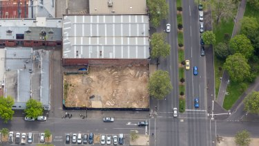 An aerial view of the intersection of King Street and Rosslyn Street in West Melbourne.